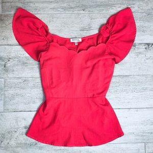 Monteau | Scalloped Flutter Sleeve Coral Blouse S